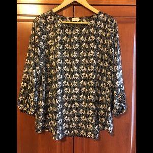 Pixley Elephant Black Blouse Size Medium